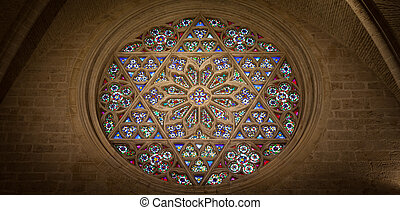 Cathedral Interior - Window detail interior of a Gothic...