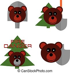 Vector set silhouettes for smoked bear day with face bear...