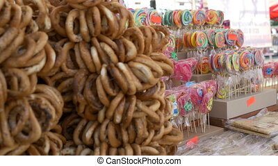 Lollipops and Pretzels at Fair - Changing focus on a fair...