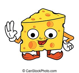Happy Cartoon Cheese Character Vector Illustration