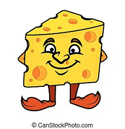Smiling Cartoon Cheese Vector Illustration