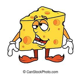 Frustrated Cartoon Cheese Vector Illustration