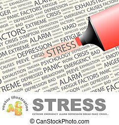 STRESS Concept illustration Graphic tag collection Wordcloud...