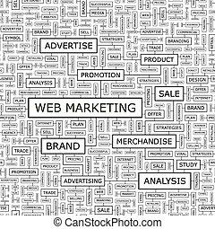 WEB MARKETING. Seamless pattern. Word cloud illustration.