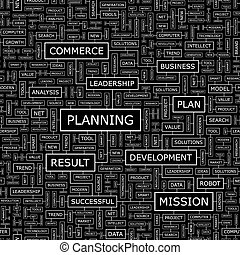 PLANNING. Seamless pattern. Word cloud illustration.