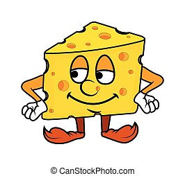 Cartoon Cheese Portrait Vector Illustration