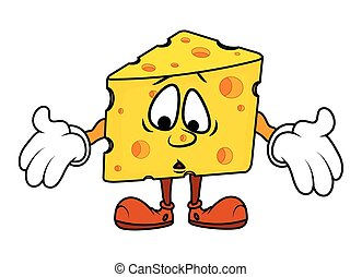 Scared Cartoon Cheese Character Vector Illustration