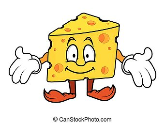Surprised Cartoon Cheese Presenting Vector Illustration
