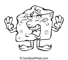Crying - Cartoon Cheese Vector - Crying - Cartoon Cheese...