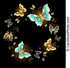 Round dance of golden butterflies - Round dance of gold and...