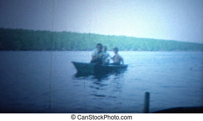 ARKANSAS, USA - 1964: Boat trip - Original vintage 8mm home...