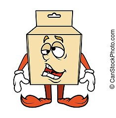 Lazy Funny Cartoon Box Character Vector Illustration