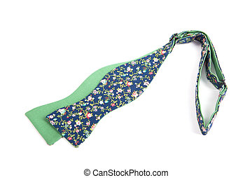 Flower green bow tie isolated on white background - Flower...