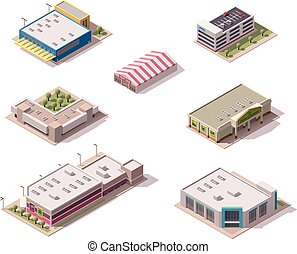 Vector isometric stores set - Vector isometric shopping...