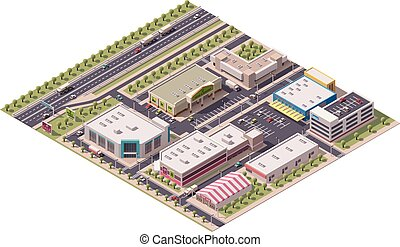 Vector isometric shopping district with shops and parking...