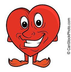ENGRAÇADO, sorrindo, vetorial, Coração
