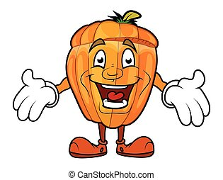 Laughing Cartoon Pumpkin Character Vector Illustration