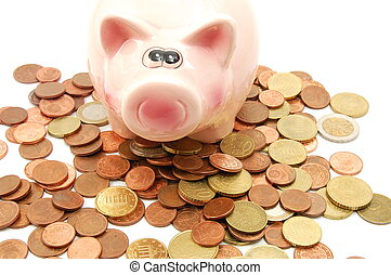 piggy bank and money coins for saving cash...
