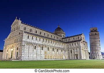 Pisa's Cathedral Square with the Tower of Pisa and the...