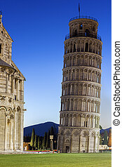 Leaning Tower of Pisa in Italy - Pisas Cathedral Square with...