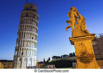Statue of Angels near the Leaning Tower of Pisa in Italy -...