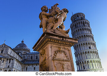 Statue of Angels near Leaning Tower and Cathedral of Pisa -...