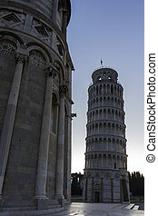 Leaning Tower of Pisa near the Cathedral in Italy - Leaning...
