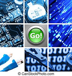 computer technology collage - collage or collection of...