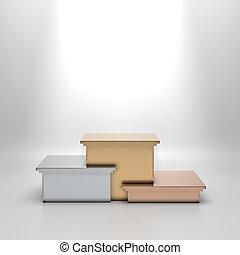 vazio, dourado, prata, e, bronze, podium.,