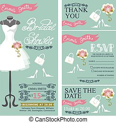 Bridal shower invitation.Bridal dress,bouquet,accessories set