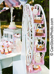 Dessert table for a party Cake, cupcakes, sweetness and...
