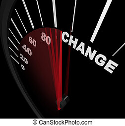 Racing Toward Change - Speedometer - A speedometer with red...