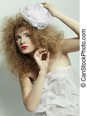 girl with shock hair-do - portrait of girl with girl with...