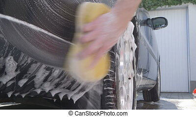 Washing a car - sliding camera - Car Care - Washing a car by...