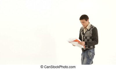 Man Is Happy And Throws The Paper - SLOW MOTION. A young man...