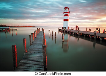 Landscape ocean sunset - lighthouse - Lighthouse at Lake...