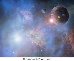 Bright Nebula with planets