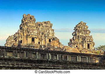 wall Angkor Wat, Khmer temple complex, Asia Siem Reap,...