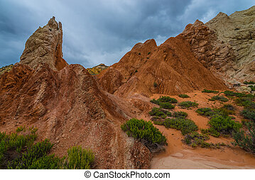 Multicolored rock formations near the Cottonwood Canyon Road...