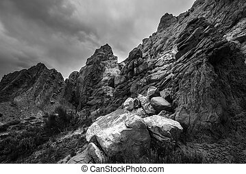 Black and White Rock formations with Dramatic Sky Cottonwood...