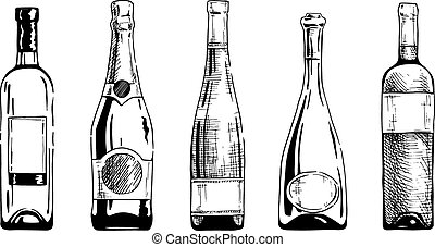 Wine bottle - Vector set of wine and champagne bottles in...