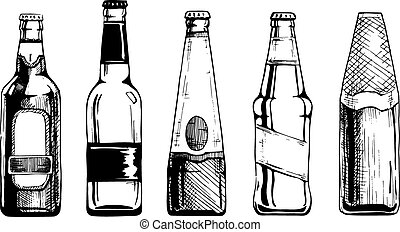 Beer bottle - Vector set of beer bottles in ink hand drawn...