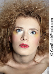 girl with shock hair-do - close-up portrait of caucasian...