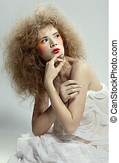 girl with shock hair-do - portrait of caucasian girl with...