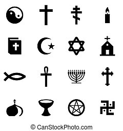 Vector black religion icon set on white background