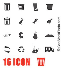 Vector grey garbage icon set on white background