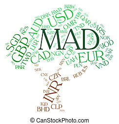 Mad Currency Indicates Worldwide Trading And Coin - Mad...