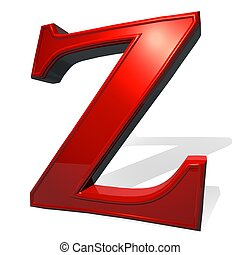 Letter Z in red over white background, with shadow, 3d...