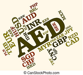 Aed Currency Shows United Arab Emirates And Coin - Aed...