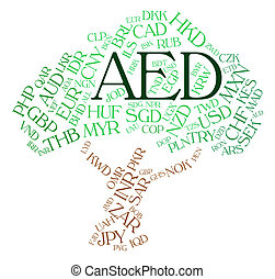 Aed Currency Indicates United Arab Emirates And Currencies -...